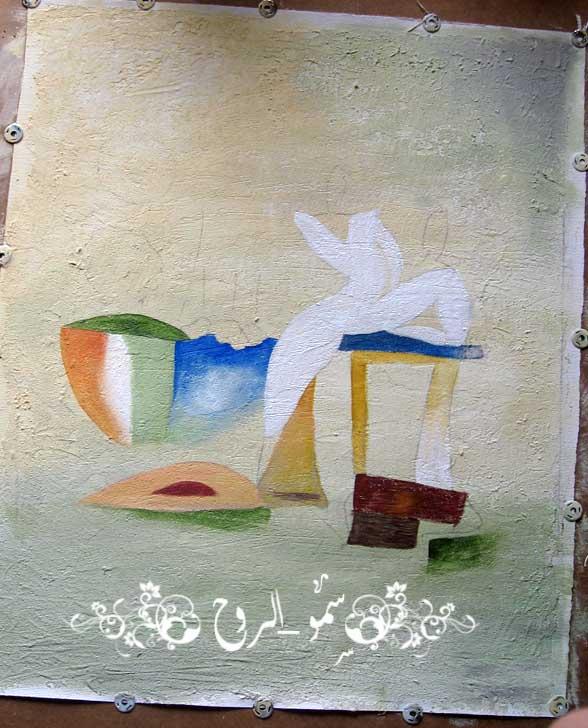 رسمتي الجديدة بالوان الاكريليك ومعجون الرمل بالخطوات اكيد Img_6818