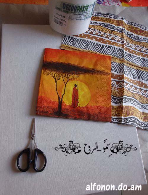 لوحة افريقية بالديكوباج والمعجون والخطوات اكيد باللصور Tmp_et20